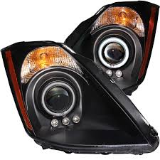 nissan 350z xenon bulbs anzo usa nissan 350z 03 05 projector headlights black w halo ccfl