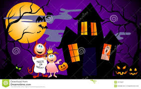 kids halloween cartoon trick or treat halloween scene royalty free stock photography