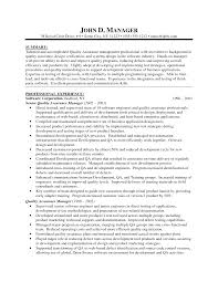 Qc Resume  Resumes For Qa Manager Quality Assurance Resume For Qa