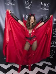 alessandra ambrosio hosts halloween party in devil costume