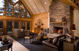 Lodge Style Home Decor Download Cabin With Fireplace Gen4congress Com