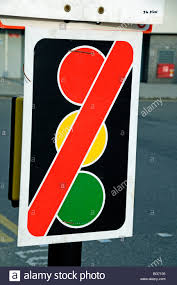 traffic lights out of order sign uk stock photo