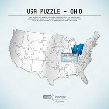 Columbus Map Usa Map Puzzle One State One Puzzle Piece Ohio Columbus