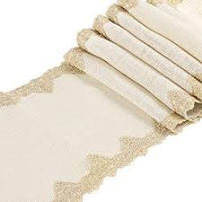 Gold Lace Table Runner Amazon Com Ling U0027s Moment 12x48 Inch Burlap Cream Lace Hessian