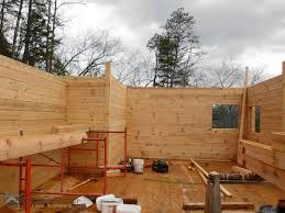 eberhardt home log delivery and stack custom timber log homes interior corner log wall system