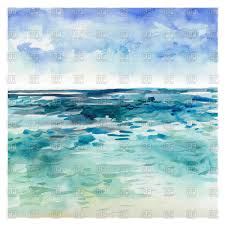 watercolor sea background hand drawn painting vector clipart