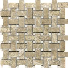 shop anatolia tile emperador light basketweave mosaic marble wall