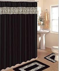 Bathroom Shower Curtain And Rug Set 4 Bath Rug Set 3 Black Zebra Bathroom