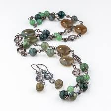 green stone necklace set images Green stone necklace and earrings set sterling silver wire jpg