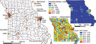 missouri breaks map a a total of 641 high schools in missouri referenced with