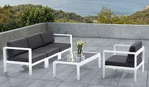 canape jardin salon de jardin bas blanc et gris anthracite 4 personnes orlando