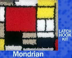 Wool Hook Rug Kits Mondrian Diy Latch Hook Rug Kit 10 10 5 Inches By