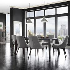 Dining Chair Deals Inspire Q Grey Linen Upholstered Slope Leg Dining Chairs
