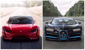 tesla roadster tesla roadster vs bugatti chiron this image clearly tells who u0027s