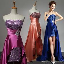 royal blue evening dress 2017 short front long back elegant