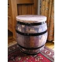 oak barrel table with stools