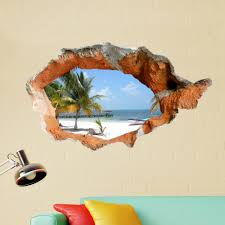 home decor 3d stickers 3d beach wall decals 38 inch removable sea wall art stickers home