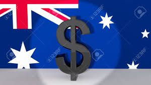 Aussie Flag Currency Symbol Australian Dollar Made Of Dark Metal In Spotlight