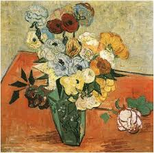 Vase With Roses Still Life Japanese Vase With Roses And Anemones By Vincent Van