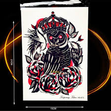 summer style onderarm tattoo demon evil owl king rose blood bird