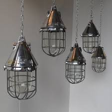Industrial Pendant Light with Conical Caged Industrial Pendant Lights