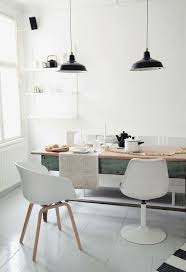 dining rooms black hanging lamp white stained wall ceramic floor