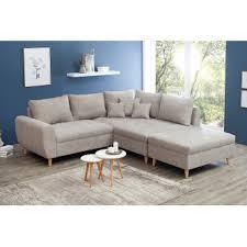 canapé d angle bois canapé d angle design matelassé en bois massif tissu beige hannes 250 cm