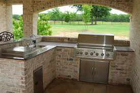prefabricated kitchen island kitchen charming outdoor kitchen with rustic white brick l shaped