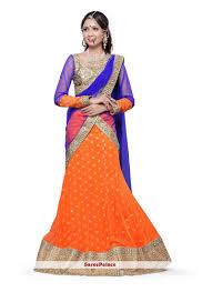 blissful orange and blue net a line lehenga choli a line lehenga
