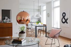 dining room scandinavian dining space with glass top dining table