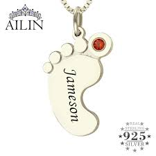 Mom Necklace With Kids Names Aliexpress Com Buy Wholesale Birthstone Necklace Baby Feet