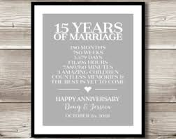 15th anniversary gifts 15 years married etsy