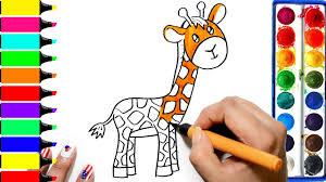 how to draw giraffe coloring animals learning drawing art
