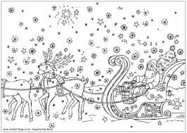 santa u0027s sleigh colouring christmas colouring pages kids