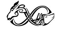 a tribal made up of a s and a wolf s heads joined to