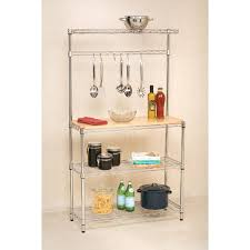 Cheap Bakers Rack Amazon Com Bakers Rack With Cutting Board And Storage Chrome