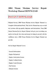 2004 nissan maxima service repair workshop manual download
