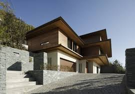 wooden wall house stone white modern that combined with wooden