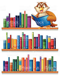 Bookcase With Books Owl Above The Wooden Bookshelves With Books Stock Vector Art