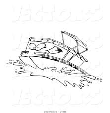 vector of a cartoon pontoon boat character outlined coloring