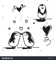 valentines day cartoons set cute penguins stock vector 126741380
