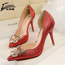 2017 luxury designer rhinestone red bottom high heels shoes women