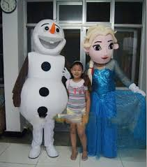 Olaf Costume Real Pictures Deluxe Queen Elsa And Olaf Frozen Mascot Costume
