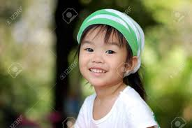 asian headband asian girl with smile and wear green white headband stock