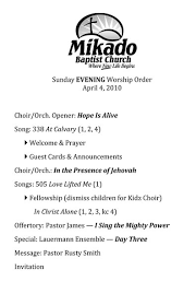 examples of a worship order koerts music