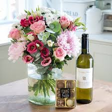 flowers wine beautiful flower bouquets personalised gifts blossoming gifts