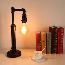 onepre vintage industrial steampunk table lamp 1 light water pipe