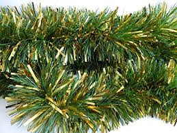 luxury thick pine and gold tinsel garland x 3m style