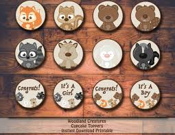 woodland creatures baby shower or birthday printable cupcake