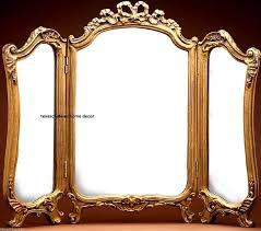 ornate arch gold gilt 3 panel vanity mirror antique french regency